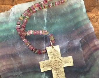 Bronze Rustic Cross Pendant