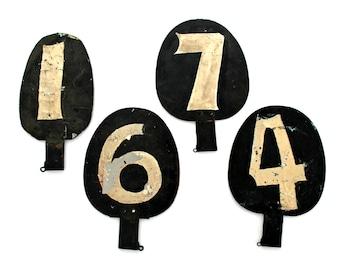 antique numbers equestrian harness racing,  Goshen Racetrack, NY,  metal numbers, unique numbers, horse racing, primitive numbers