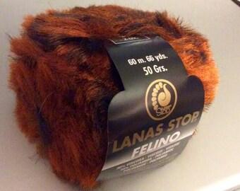 25% Off FELINO Faux Fur Bulky Yarn by Lanas Stop / 50 g - 1.76 oz/ 60m - 66 yds
