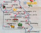 Vintage Missouri Embroidered Hanky