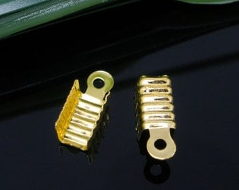 500 WHOLESALE Gold Connectors - Crimp End - Necklace/Cord Caps W/Loop - 12x5mm - Ships Immediately from California - FC164