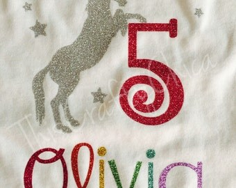 Personalized rainbow unicorn Birthday shirt with Glitter number * name * choose your colors