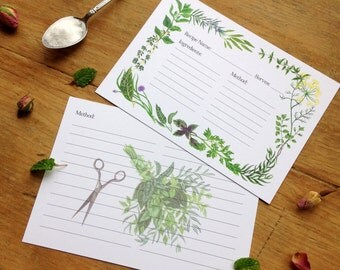 Herbs Border Recipe Card Pack