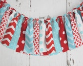Streamer Banner - Rag Tie Banner - Photography Prop - Room Decor - Spring Banner - Aqua and Red Banner - Seuss Inspired