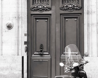 Paris Door Photography - Door with Scooter, Black and White Photo, Fine Art Paris Print, French Home Decor, Large Wall Art