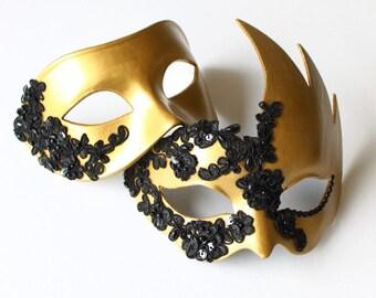 Unique Couple's Matching Black & Gold Masked Ball Masquerade Masks