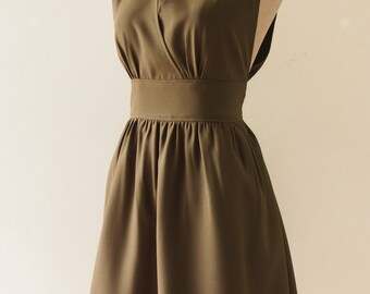 Green Prom Evening Dress Dark Olive Green Dress Green Bridesmaid Dress Christmas Dress High Neck Elegant Wedding Party Dress- XS-XL,custom