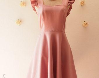 SALE USD20 - Size S -Dusky Pink Bridesmaid Dress Dusky Pink Dress Party Dress Tea Dress Reception Dress Ruffle Sleeve Dress Summer dress