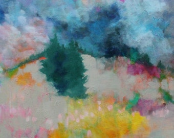 "Abstract Landscape Painting on Canvas, Original Acrylic Painting, Tree, Flowers, ""The Hills Call Me"""