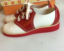 On Sale - Vintage Saddle Shoes Red White Size 6 Deadstock F128