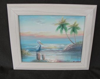 Beautiful Tropical Oil Painting of Pelican Along Coast Signed M Harry