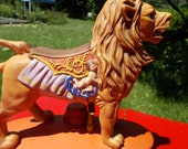 Ceramic Merry Go Round  Lion Decanter  -  Cyrus Noble  Straight Bourbon   Great Detail on Lion