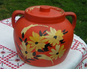 Vintage Hand Painted Stoneware Cookie Jar  - Ransburg Style  Folk Art