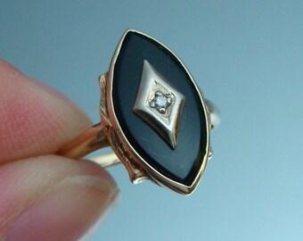 Antique 10k Classic Onyx & Diamond Ring - size 5.25