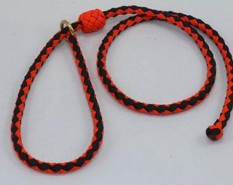 "35"" Braided Paracord slip tab, suppression collar orange/black"