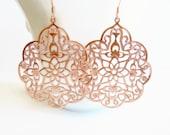 Rose Gold Filigree Earrings Rose Gold Lacy Filigree Statement Earring Moroccan Earrings Boho Gypsy Earrings Lacy Lightweight Blush Pink Gift