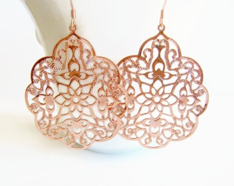 Rose Gold Filigree Earrings Rose Gold Lacy Filigree Statement  Moroccan Earrings Boho Bohemian Inspired Gypsy Lightweight Blush Pink Gift