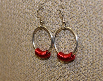 Aluminum and red earrings