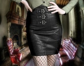 Gothic skirt - Black -Mixed leather