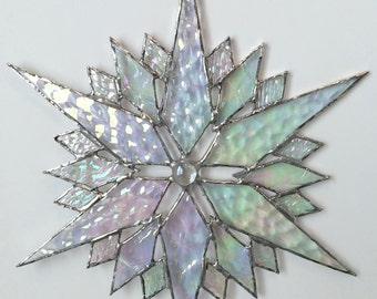 stained glass snowflake suncatcher  (design 35C)