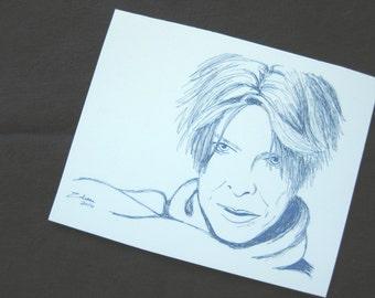"David Bowie in blue 2.5"" x 3"" handmade original art magnet"