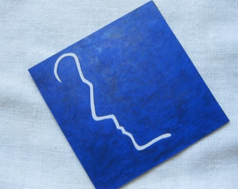"""Guess Who 2.5"""" x 2.5"""" Dr Who original art magnet, blue and white minimalist art"""