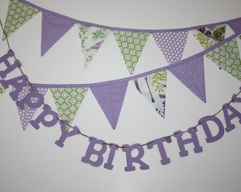 Happy Birthday BANNER AND purple green BUNTING, fabric garland pennant flags, Cardstock Happy Birthday, Green Lavender shabby chic decor