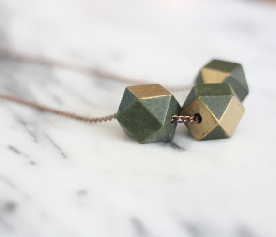 Green and Gold Wood Bead Necklace // Wood Necklace