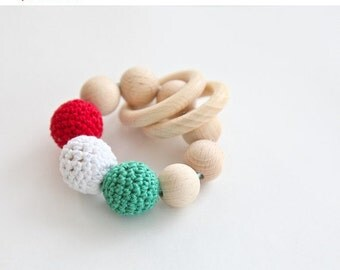 Sale! Teething toy, wooden rattle with crochet wooden beads and 2 wooden rings. Wooden beads rattle.