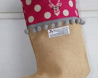 Handmade Christmas Deer Stocking - pink large