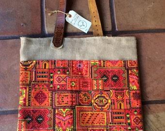 BIG Burlap market tote bag shopper Vintage fabric leather strap bohemian