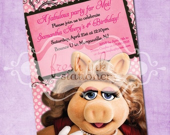 Miss Piggy Muppet Birthday Invite