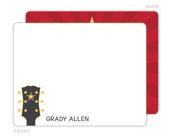 Guitar Note Cards - Personalized Flat Note Cards - Guitar Notecards - Kids Stationery - Kids Thank You Cards - Guitar Stationery