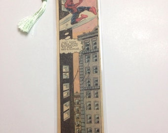 Upcycled Vintage Spiderman Comic Book Bookmark