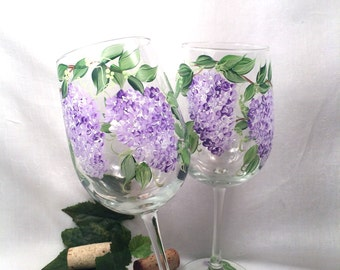 Lilacs hand painted on a pair of pretty wine glasses