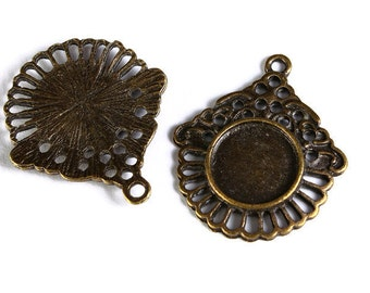 12mm tray Pendant cabochon settings antique brass findings - lead free - nickel free (1580) - Flat rate shipping