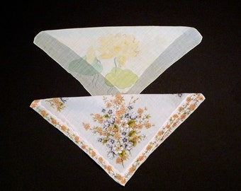 Handkerchief Set Vintage Two Imperfect for Sewing Crafting Floral Borderprint Hankerchief Kent Pastel Water lilies Lily Hankies Destash 60s