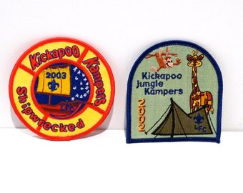 Kickapoo Kampers Embroidered patch Choose Style Jungle Campers or Shipwrecked patch Sewing Notion Boys Scouts Sewing Notion Project 2000s