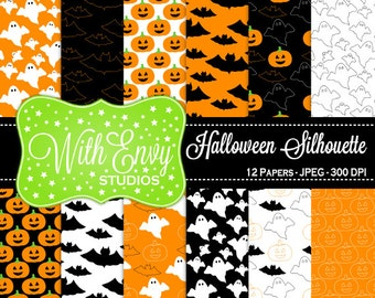 SALE  Halloween Digital Scrapbook Paper Pack - Halloween Scrapbook Paper Set - Ghost Paper - Bat Paper - Pumpkin Paper -  Commercial Use