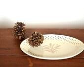 homer laughlin serving platter - fleur de lis motif - vintage serving
