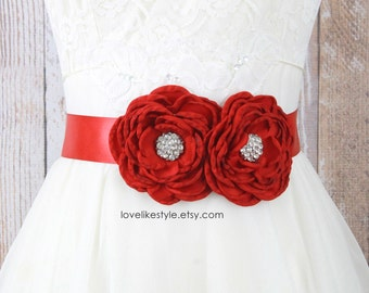 Jeweled Red Flower with Red Satin Ribbon Sash Belt, Bridal Red Sash,Bridesmaid  Sash, Flower Girl Sash Belt, Red Flower Sash