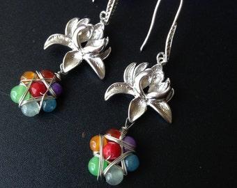 Lotus and Chakras Dangles Seven Chakras Earrings Seven Gemstone Earrings Yoga Jewelry