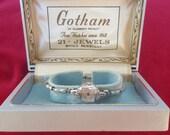 Reserved 4 Josephine NOS Art Deco GOTHAM 21 jewels Diamonds Ladies Watch SERVICED and Consul Vintage Bangle watch enamel Flower Detail
