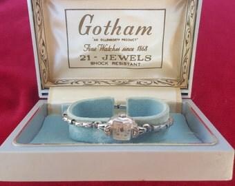 NOS New Old Stock Art Deco GOTHAM 21 jewels Diamonds Ladies Watch SERVICED Shop for Valentines Day Birthdays  Weddings