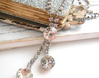 Vintage Long Clear Rhinestone Silver Tone Tassel Necklace Estate Jewelry SS33