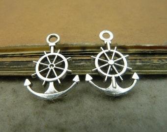 50pcs 15*21mm antique silver rudder charms pendant C5037