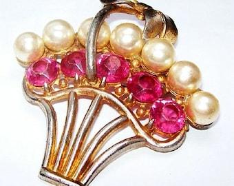 """Art Deco Basket Brooch Pink Rhinestones & Faux Pearls Gold Metal Vintage BIG 3"""" VG"""