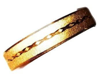 Disney Bangle Bracelet Signed Laser Cut Textured Gold Metal Walt Disney World 1/2 W Vintage