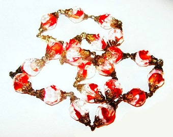 "Venetian Glass Beads Red & White Brass Filigree Caps Barrel Clasp 20"" Vintage"