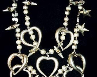 "Heart Star Necklace Double Strand Valentine Boho Goth Silver Metal 30"" Vintage"
